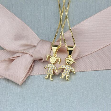 Hot sale small boy and girl pendant fashion new copper-plated white zircon kids necklace NHBP186468's discount tags
