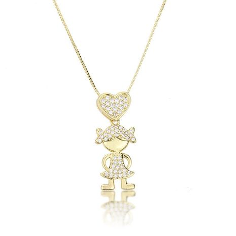 South America Hot Heart Shaped Zircon Small Girl Pendant Fashion New Copper Plated White Zircon Kid Necklace NHBP186469's discount tags