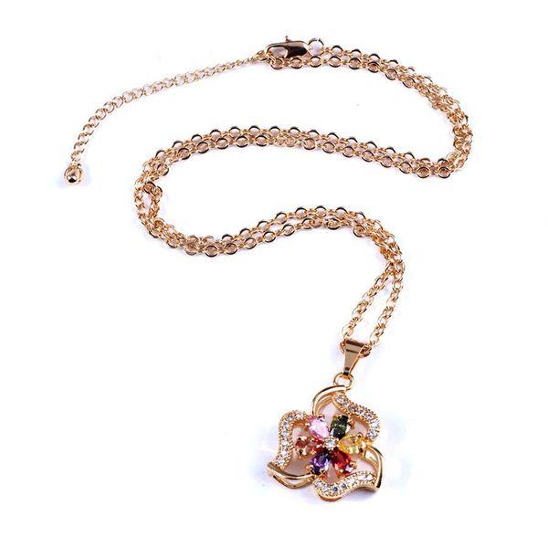 Necklace palace high-grade color retaining ring interlocking tassel zircon long money chain NHIM186407