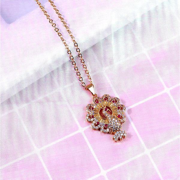 Necklace court luxury luxury color retaining ring interlocking fringed zircon long necklace NHIM186406