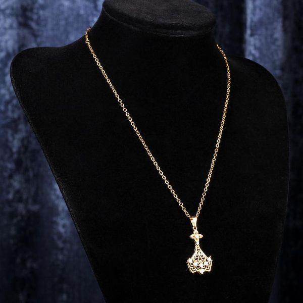 Collar con retención de color de alta calidad y collar largo de circonita con borla entrelazada NHIM186413