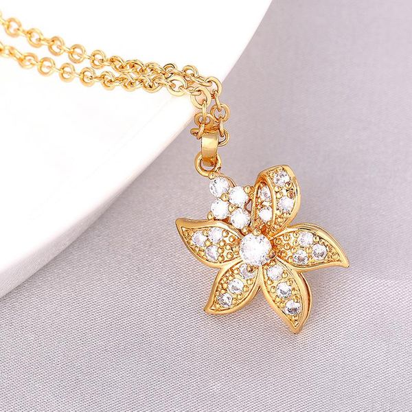 Necklace with high-grade color retention and interlocking tassel zircon long necklace NHIM186419