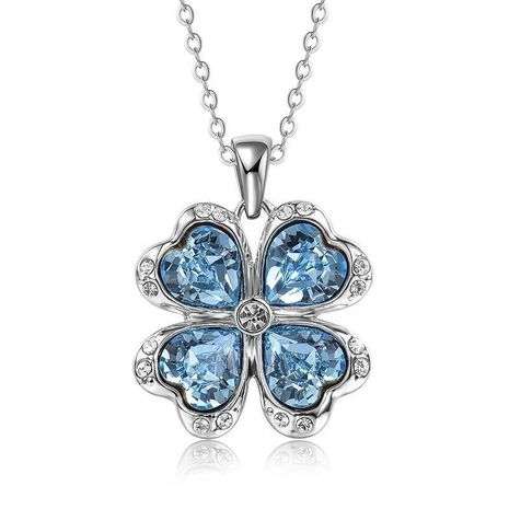 New Crystal Pendant Clover Necklace Fashion Sweater Chain NHLJ186431's discount tags
