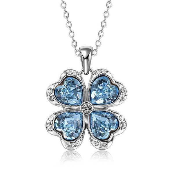 New Crystal Pendant Clover Necklace Fashion Sweater Chain NHLJ186431