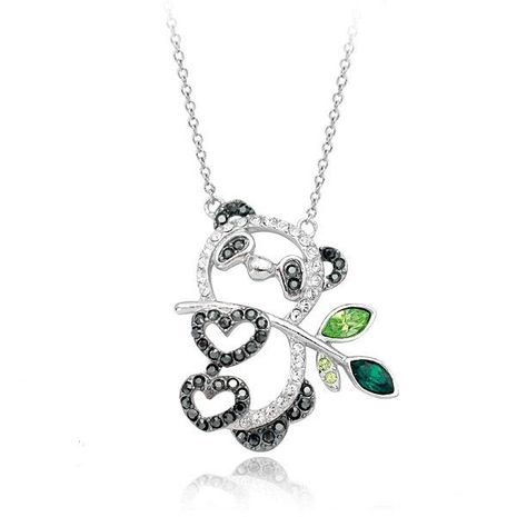 Chica linda joyería delicado collar colgante de panda de diamantes NHLJ186434's discount tags