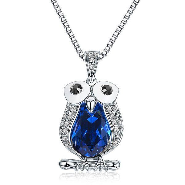 Diamond owl pendant high quality crystal necklace wholesale NHLJ186435