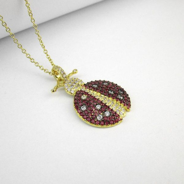 Ladybug pendant copper micro inlaid zircon necklace adjustable clavicle chain female sweater chain NHLJ186445
