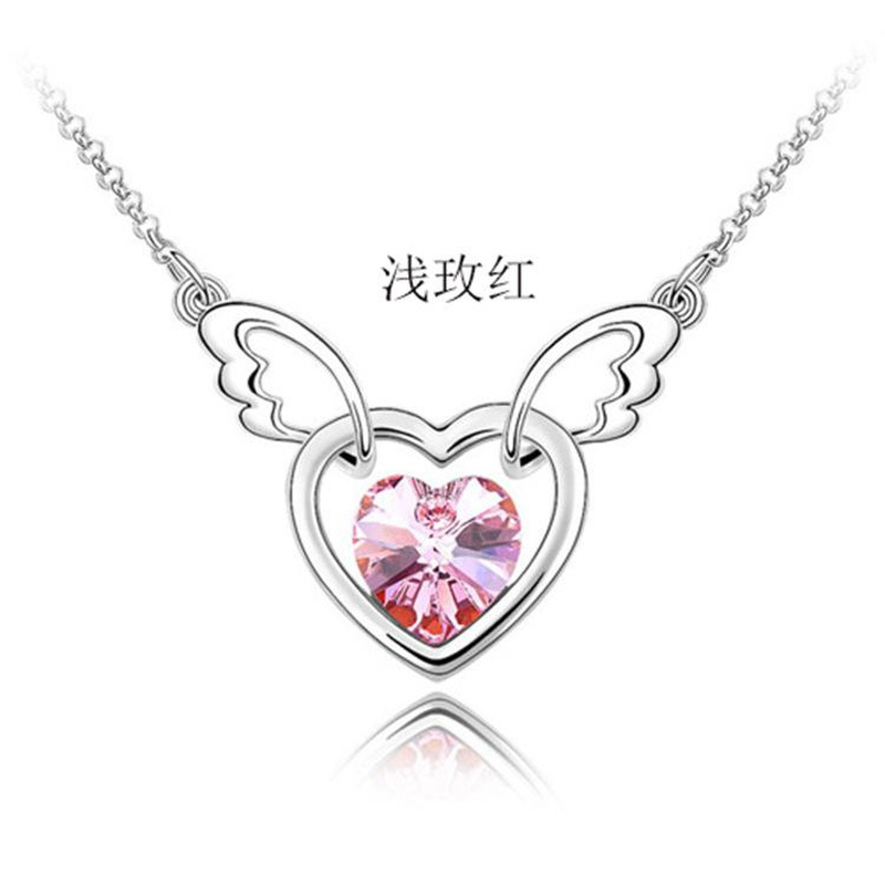 Fashion Classic Austrian Crystal Heart Necklace Heart Angel Short Clavicle Chain NHLJ186461