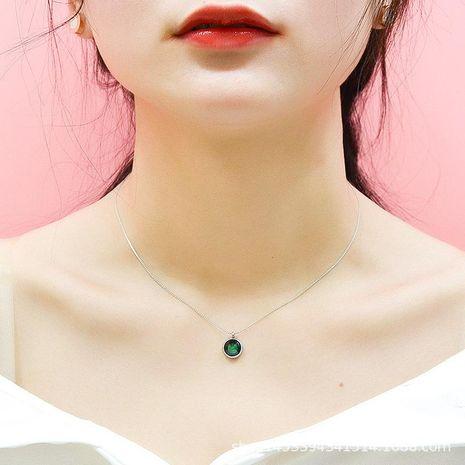 Fashion titanium steel jewelry green jadeite pendant rose gold stainless steel jewelry women NHOK186478's discount tags
