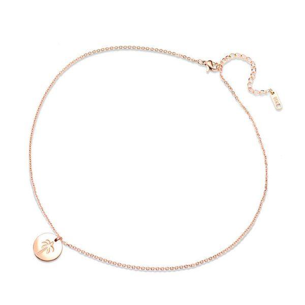 Coconut Tree Rose Gold Necklace NHOK186486