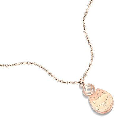 Rose Gold My Neighbor Totoro Double Clavicle Necklace Lucky Cat 18K Real Gold Plating Rose Gold Necklace NHOK186495's discount tags