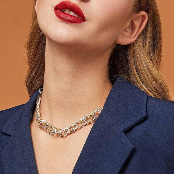 Contrast metal jewelry short clavicle chain handsome simple wild thick necklace women NHMD186602
