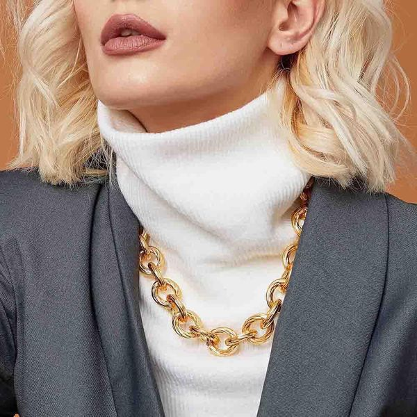 Metal chain clavicle chain wild exaggerated luxury necklace sweater short chain NHMD186603