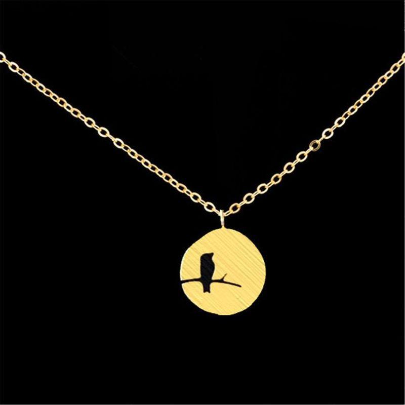 Pendant Necklace Hollow Bird Necklace Woodpecker Necklace Irregular Round Necklace NHCU186566