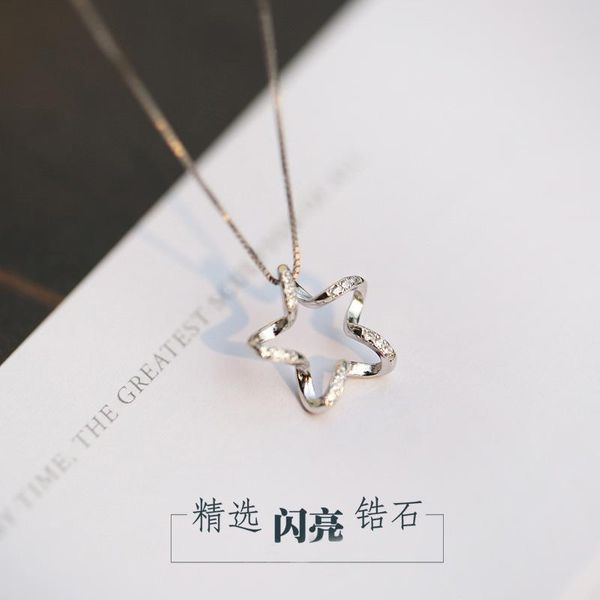 Pentagram zircon star necklace female clavicle chain plated s925 sterling silver pentagram pendant necklace NHCU186568