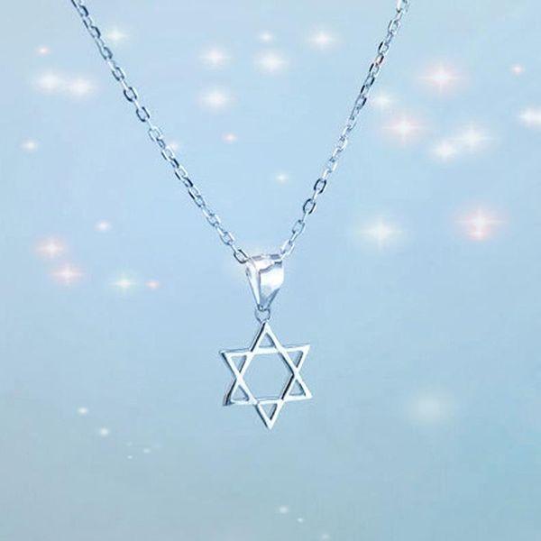 Collar de estrella de seis puntas collar de clavícula de estrella hexagonal mate suave y afortunada para mujer NHCU186569