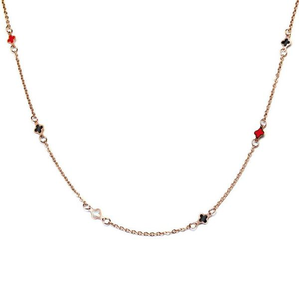 Fashion simple red black and white drip oil small four leaf flower titanium steel rose gold four leaf flower necklace girlfriend gift NHOK186500