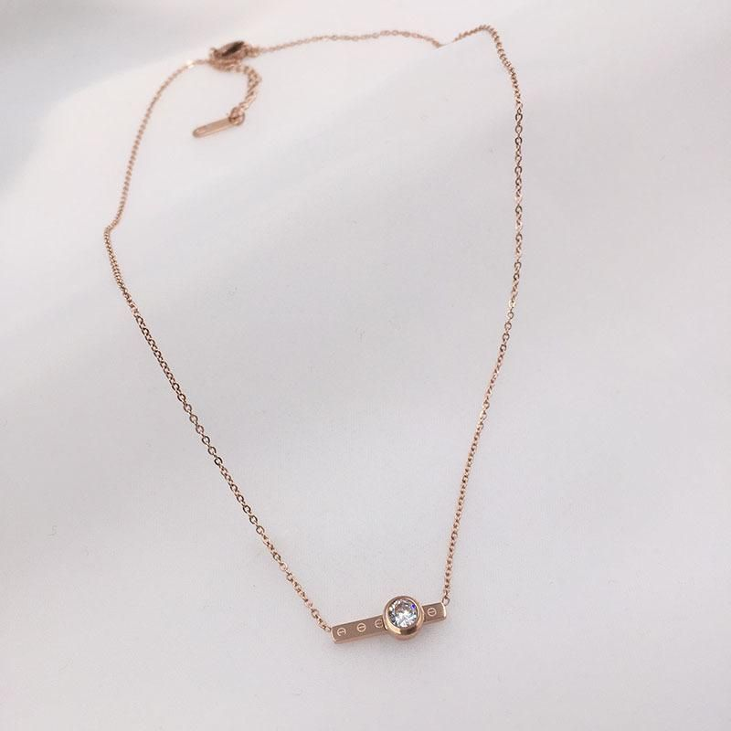 Diamond necklace titanium steel necklace rose gold clavicle chain does not fade NHWK186557