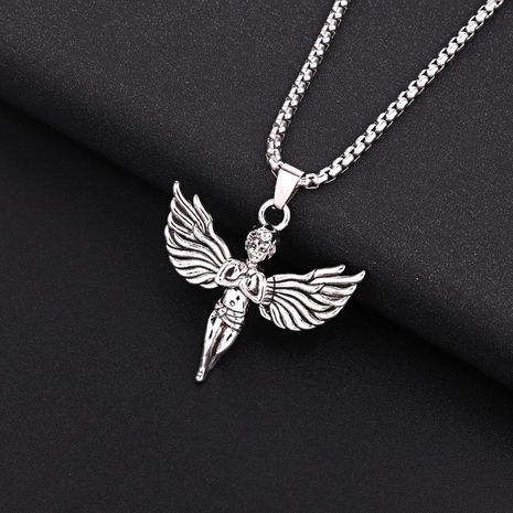 Rock personality angel Cupid wings pendant silver pendant necklace men and women NHGO186508's discount tags