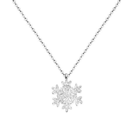 Frosted Snowflake Necklace Rose Gold Snowflake Necklace Real Gold Plated Clavicle Necklace NHOK186502's discount tags