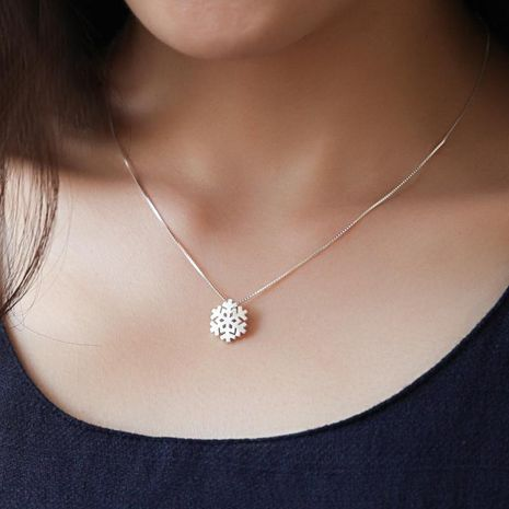 s925 sterling silver snowflake necklace short clavicle chain snowflake pendant necklace NHCU186574's discount tags