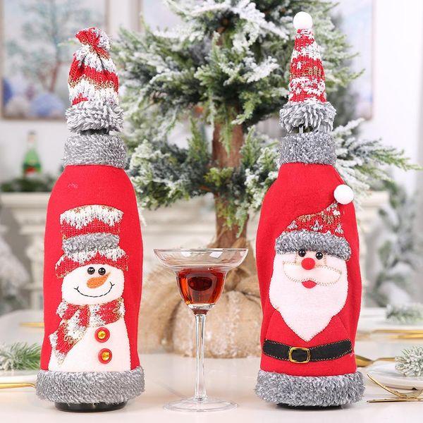 Navidad nueva venta caliente cierre de terciopelo gris con capucha botella de vino tinto cubierta bolsa de vino tinto NHHB186117