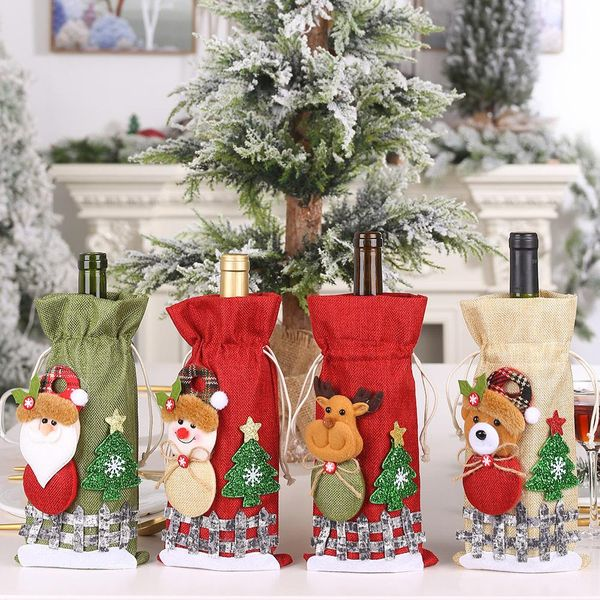 New Christmas decorations sackcloth snow cartoon drawstring wine bottle cover lattice doll wine bottle bag wholesale NHHB186120