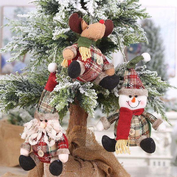 New Christmas Ornaments Plaid Buttons Spherical Christmas Pendant Fat Snowman Elk Decoration Wholesale NHHB186119