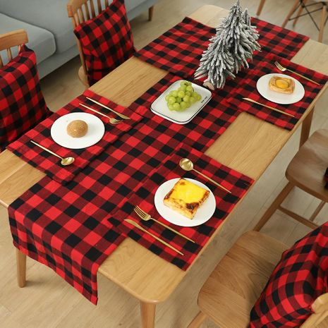 New Christmas Decorations Plaid Placemat Table Knife Fork Plate Placemat Plaid Tablecloth NHHB186121's discount tags