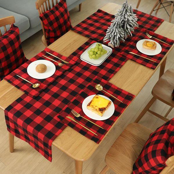 Nuevos adornos navideños Cuadros Mantel individual Cuchillo de mesa Tenedor Placa Mantel individual Mantel a cuadros NHHB186121