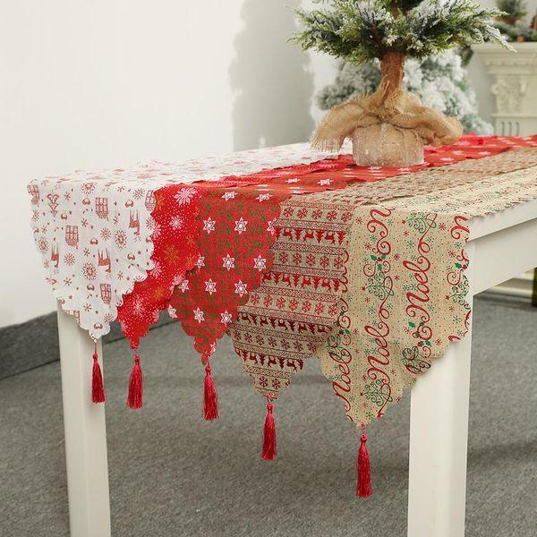 Navidad nuevos suministros de decoración navideña lino impreso tabla bandera decoración de mesa decoración mantel mantel NHHB186123