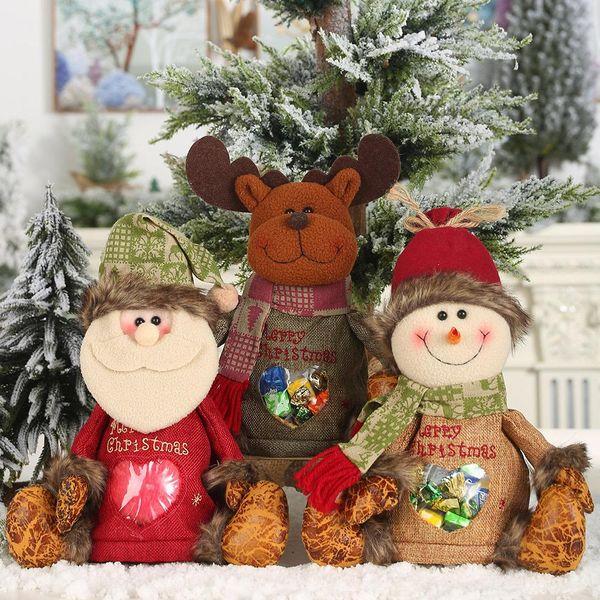 Nuevos suministros de Navidad imitación corteza de saco bolsa de dulces muñeca creativa bolsa de manzana bolsa de regalo para niños al por mayor NHHB186124