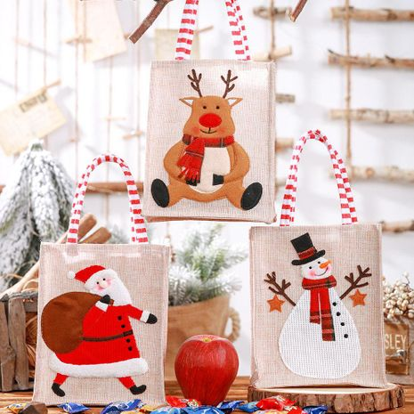 New Christmas decoration supplies burlap three-dimensional embroidery tote bag children gift bag candy bag storage bag NHHB186125's discount tags