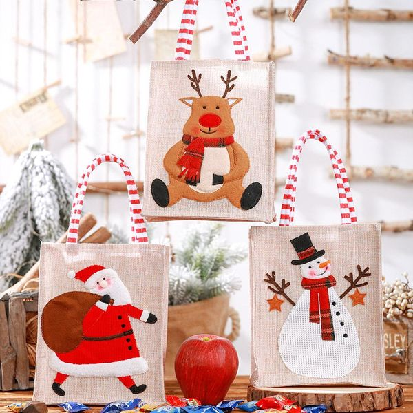 New Christmas decoration supplies burlap three-dimensional embroidery tote bag children gift bag candy bag storage bag NHHB186125
