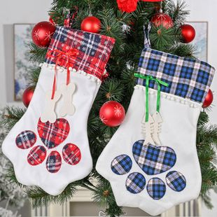 New Christmas Decorations Plaid Claw Christmas Socks Dog Paw Socks Cat Paw Socks Gift Socks NHHB186126's discount tags