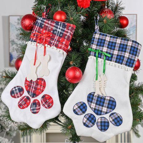 Nuevos adornos navideños Calcetines a cuadros con calcetines navideños Calcetines con patas para perros Calcetines con patas para gatos Calcetines de regalo NHHB186126's discount tags