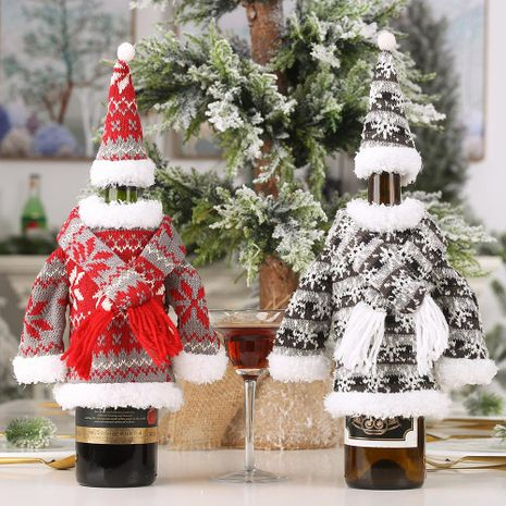 Christmas decoration suit knitted scarf hooded clothes wine bottle set creative party fabric NHHB186127's discount tags