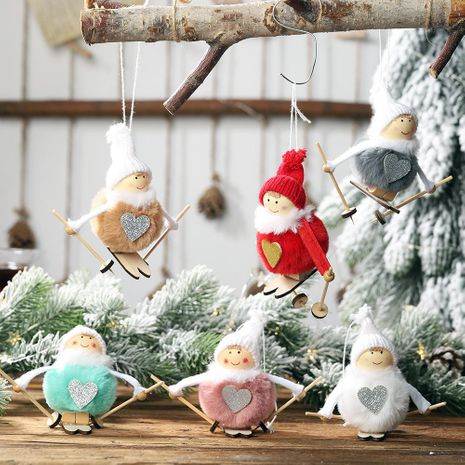 Christmas new pompom doll pendant ski snowman hanging Christmas decoration supplies tree pendant NHHB186129's discount tags