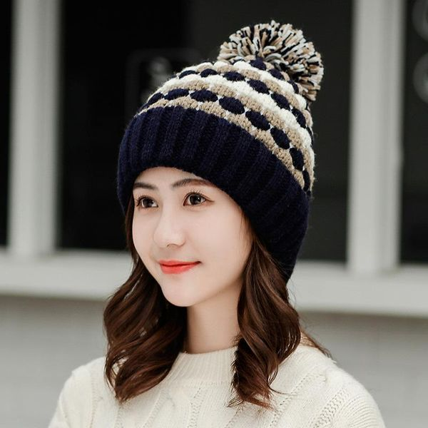 Hat female winter plus velvet warm knitted hat girl cute wool hat fashion warm hat NHHY186785