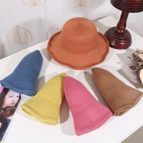 Vintage cotton-blend knitted fisherman hat warm wool hat basin hat NHHY186786