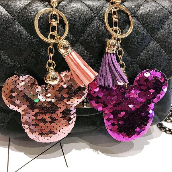 New double-sided reflective sequin Mickey head keychain pendant ladies bag pendant exquisite car decoration NHCB186905