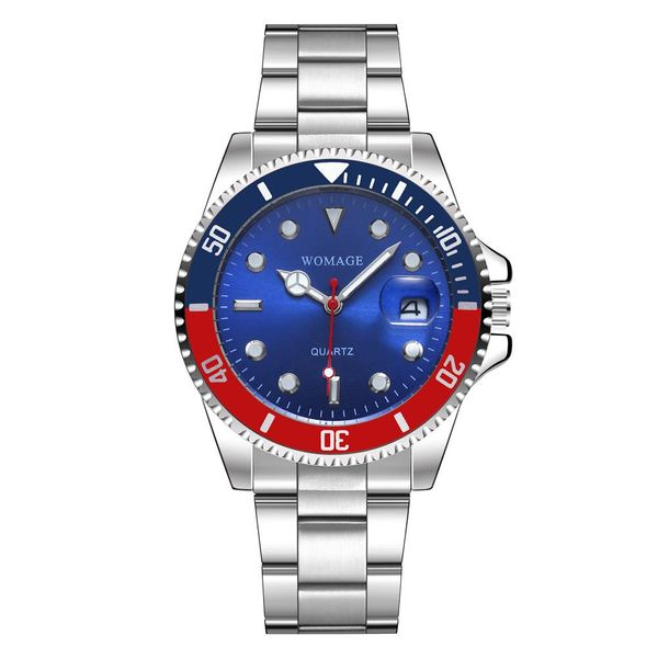 New Men's Steel Band Watch Large Dial Calendar Quartz Men's Watch NHSY186733