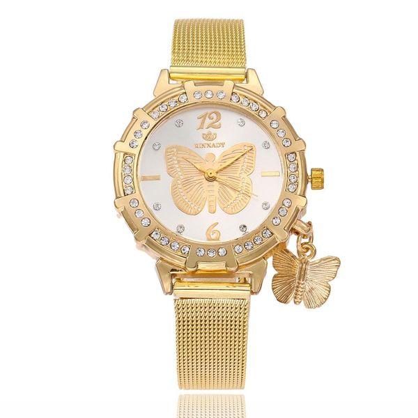 Women's diamond gold butterfly watch with diamond pendant NHSY186745
