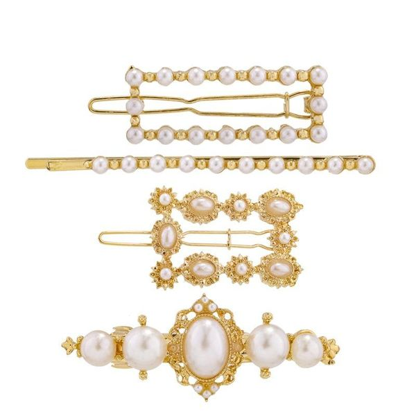 New Pearl Retro Alloy Hair Clip Side Clip Word Clip Set NHKC186956