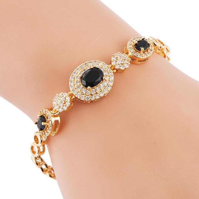 Fashion Ladies Bracelet Full Copper Oval Zircon Bracelet NHLN186935