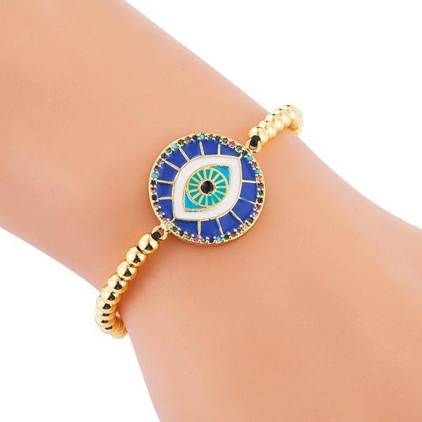 Bracelet Drawstring Adjustable Full Copper Dripping Eye of Devil Eye-studded Color Zircon Female Bracelet NHLN186940