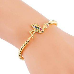 Micro inlaid zircon color flame bird bracelet female copper bead woven pull bracelet NHLN186941's discount tags