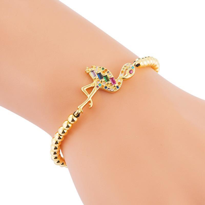 Micro inlaid zircon color flame bird bracelet female copper bead woven pull bracelet NHLN186941