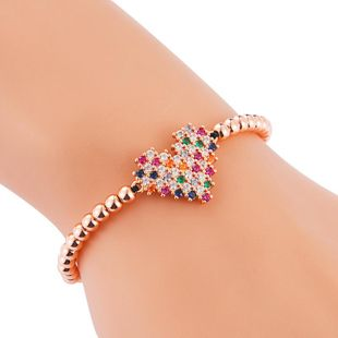 Women's Bracelet Creative Colorful Copper Micro Inlaid Zircon Heart Bracelet Woven Pull Bracelet NHLN186942's discount tags