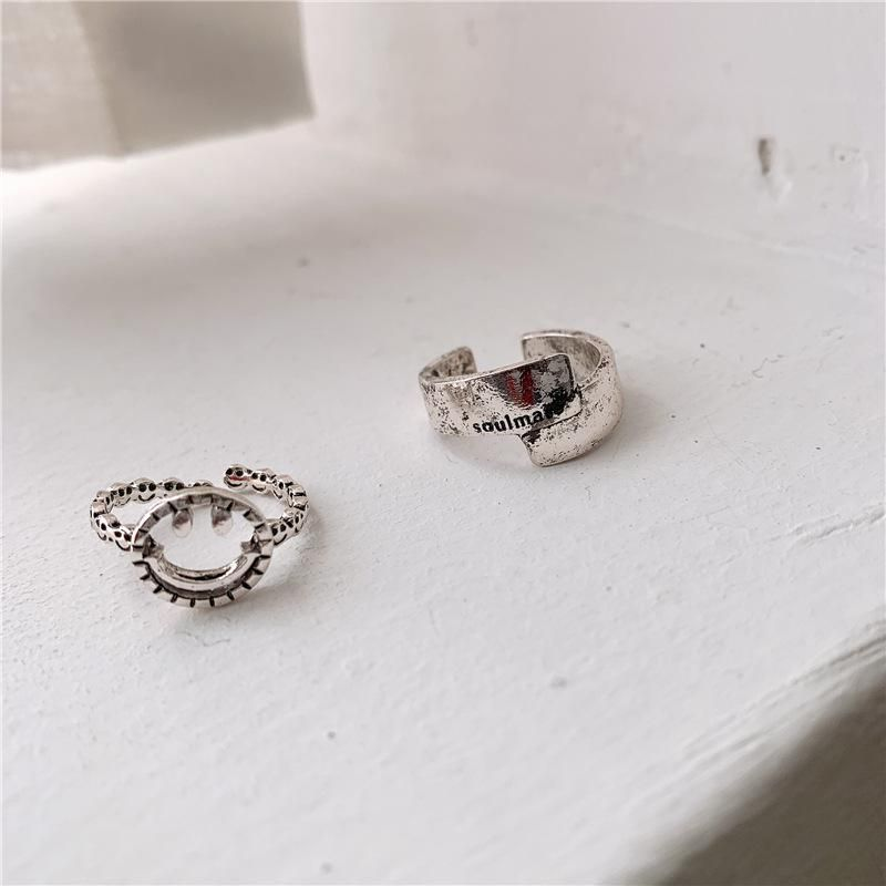 Personalized hollow smiley ring parallel letters open index finger ring ring NHYQ186996